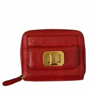 Juicy Couture Red Leather Zip Around Wallet with Gold Hardware